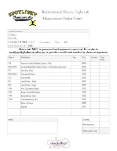 thumbnail of 2019 Recreational Shoes, Tights & Dancewear Orderform