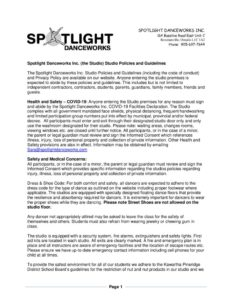 thumbnail of Spotlight Danceworks Inc. Studio Guidelines and Code of Conduct